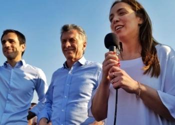 Pablo Petrecca, Mauricio Macri, María Eugenia Vidal y Guillermo Dietrich, este lunes en Junín. Foto Semanario/InfoGEI