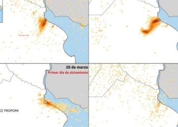 Mapas elaborados por la CONAE en base a imágenes satelitales muestran la notable disminución de dióxido de nitrógeno (NO₂). Foto CONAE/InfoGEI